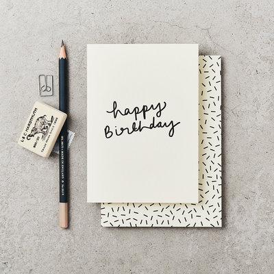 Katie Leamon Wenskaart - Happy Bday Handwritten