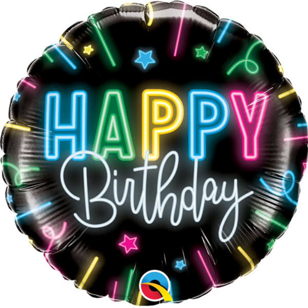 Neon Glow Happy Birthday - Folieballon (45cm)