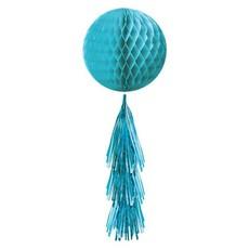 Honeycomb bal met tasselslinger (Caribbean Blue)