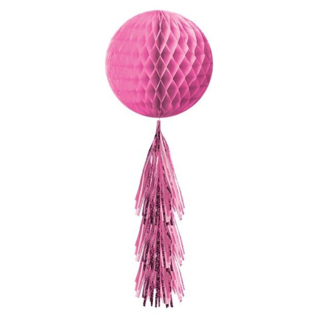 Honeycomb bal met tasselslinger (Pink)
