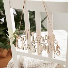 Ginger Ray Houten stoelbordjes Merry Christmas (4st)