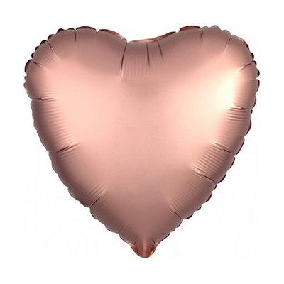Anagram Folieballon - Hart satijn rosé goud (45cm)