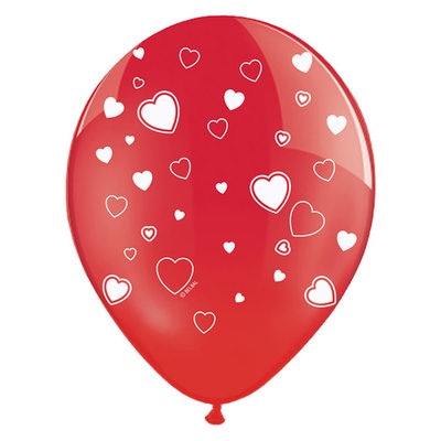 Partydeco Ballonnen 30cm - Hartjes - Crystal Poppy Red (6st.)