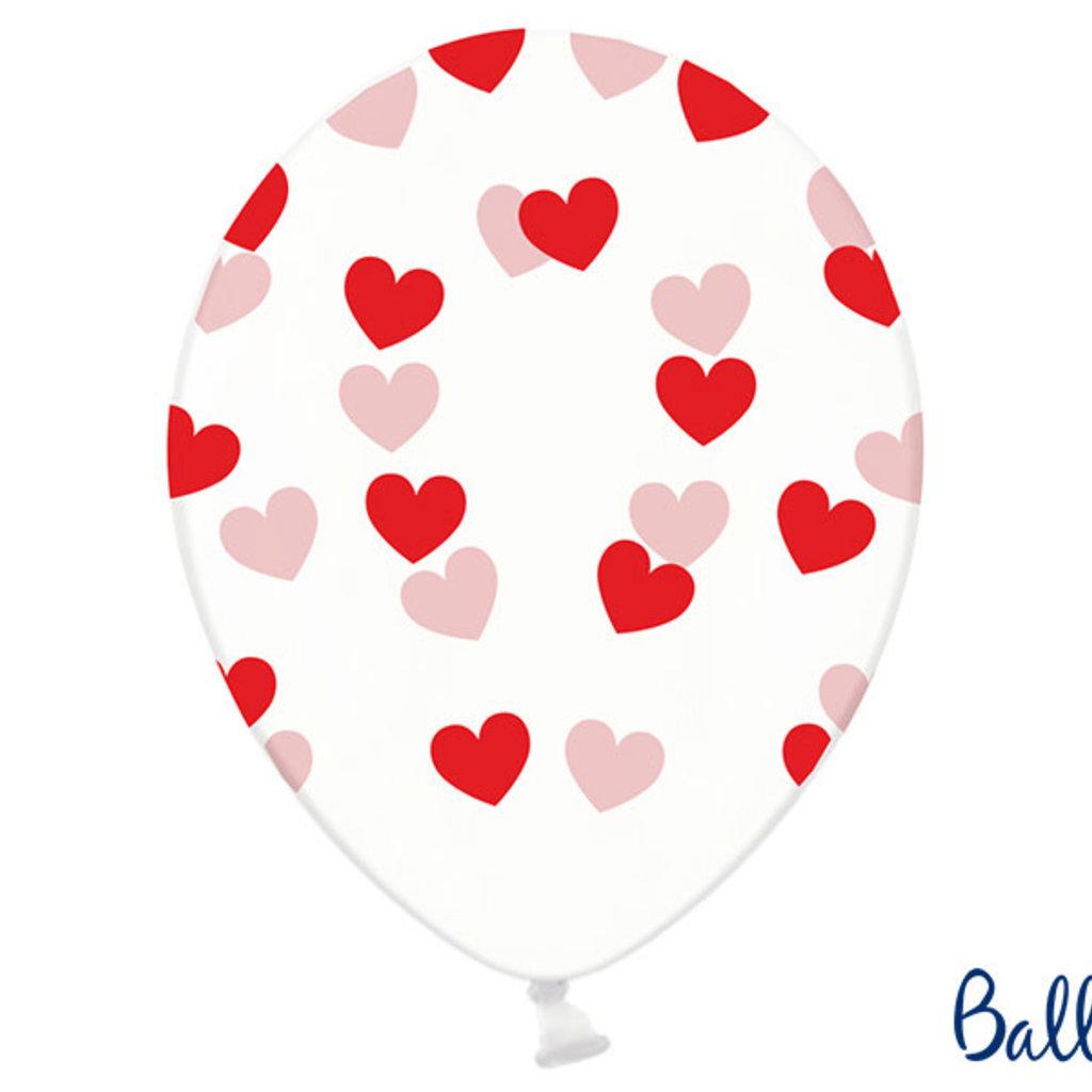 Partydeco Ballonnen 30cm - Hartjes - Crystal clear (6st.)