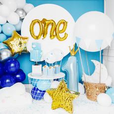 Partydeco Blauwe Cijferballon nr 1 met kroontje