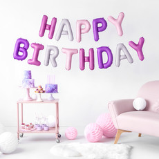 Folieballon pink mix - HAPPY BIRTHDAY