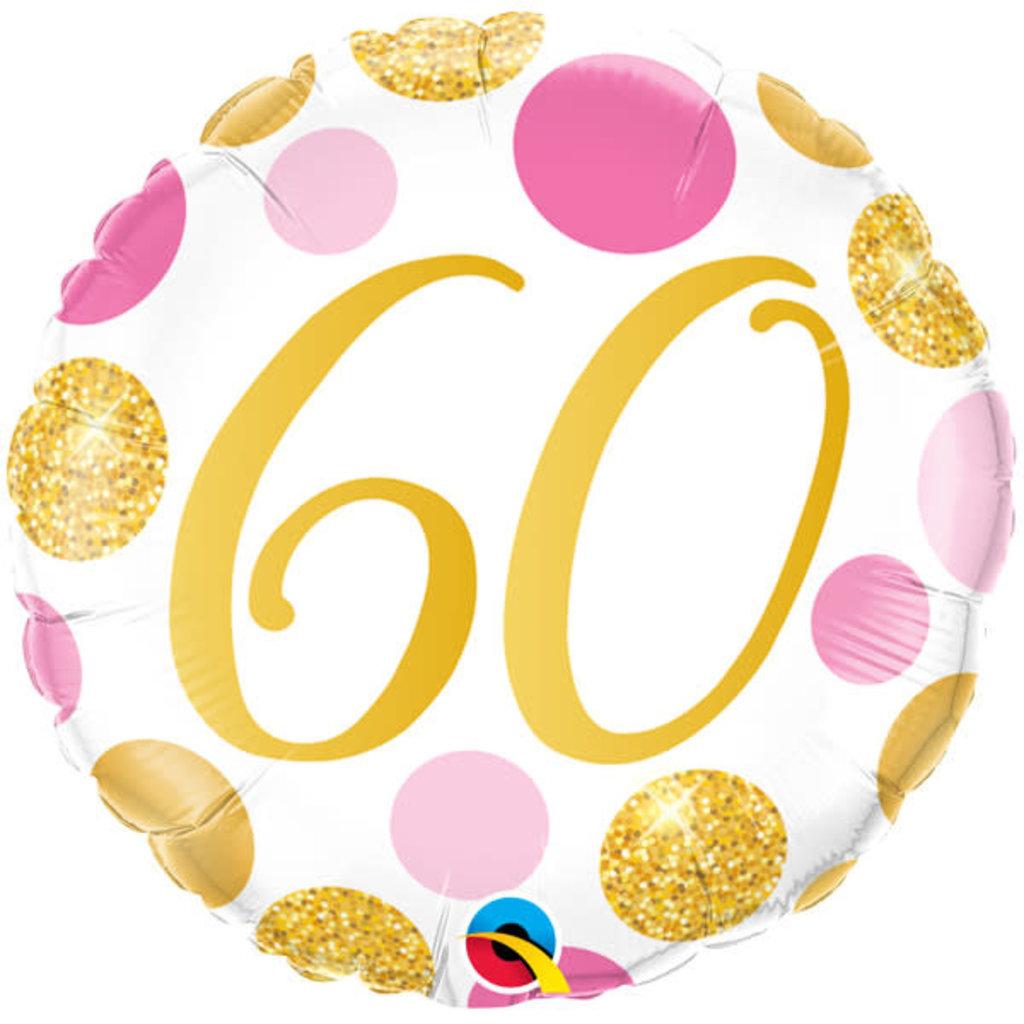 Qualatex Birthday 60 gold/pink - Folieballon (45cm)