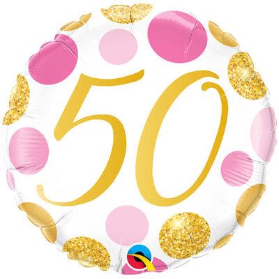 Qualatex Birthday 50 gold/pink - Folieballon (45cm)