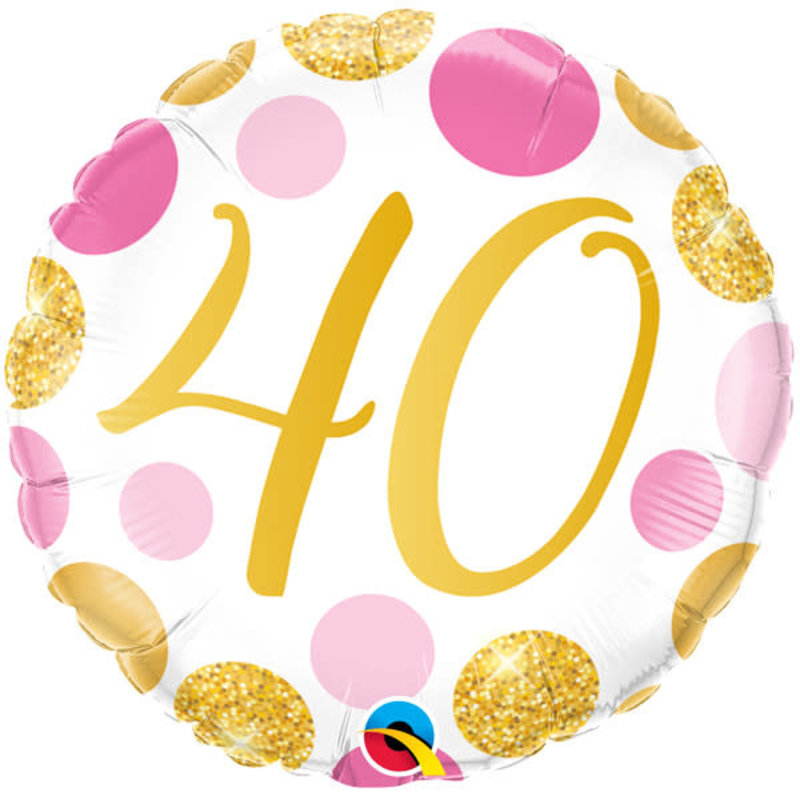 Qualatex Birthday 40 gold/pink - Folieballon (45cm)