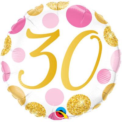Qualatex Birthday 30 gold/pink - Folieballon (45cm)