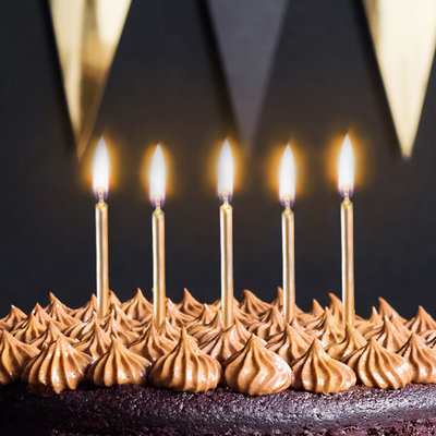 Partydeco Birthday candles - Gold (6st.)