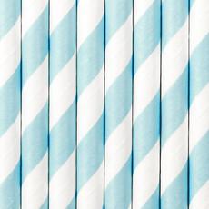 Partydeco Papieren rietjes - lichtblauw (10st.)