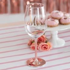 Weddingstar Roze Goud Wijnglas Mrs