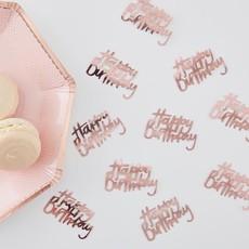 Ginger Ray Tafelconfetti - Happy birthday (rozégoud)