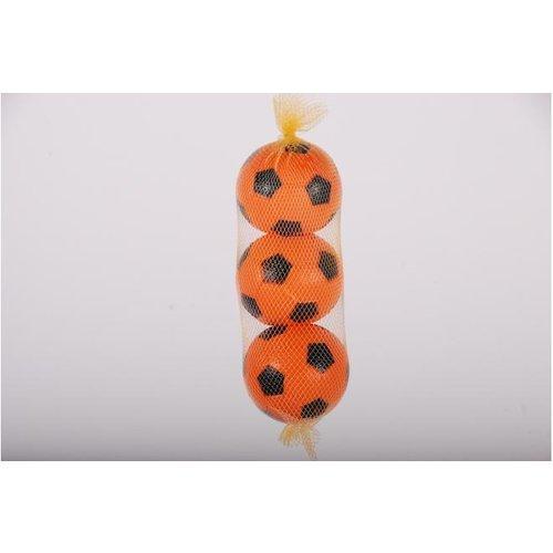 E&L Sports Drie oranje plastic balletjes in net
