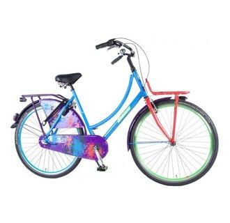 SALUTONI Urban Transport fiets Graffiti - Unisex - 28 inch - 56 cm - Blauw/Paars - Shimano Nexus 3 versnellingen - 95% afgemonteerd
