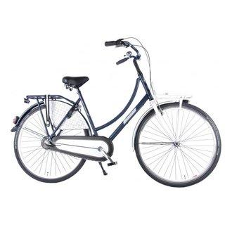SALUTONI Urban transport fiets Glamour - Unisex - 28 inch - 50 cm - Blauw/Wit - Shimano Nexus 3 versnellingen - 95% afgemonteerd
