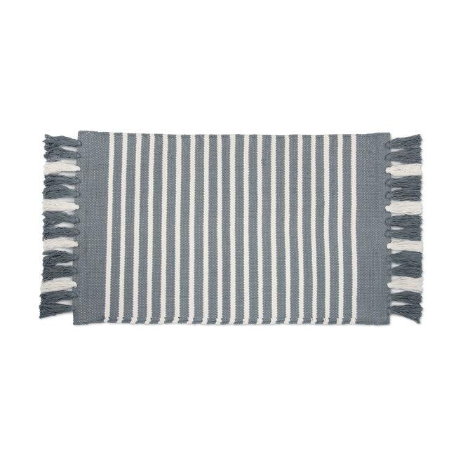 Walra Badmat Stripes & Structure Jeans Blauw
