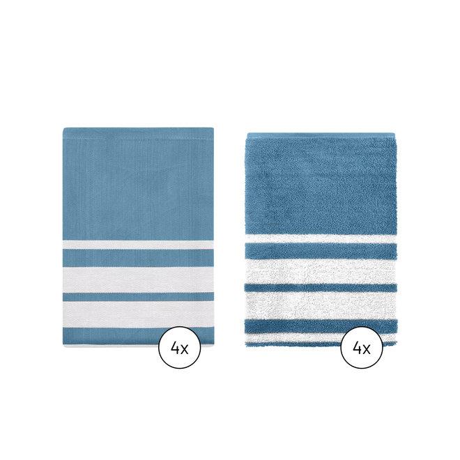 Keukentextiel Set Blauw Gestreept