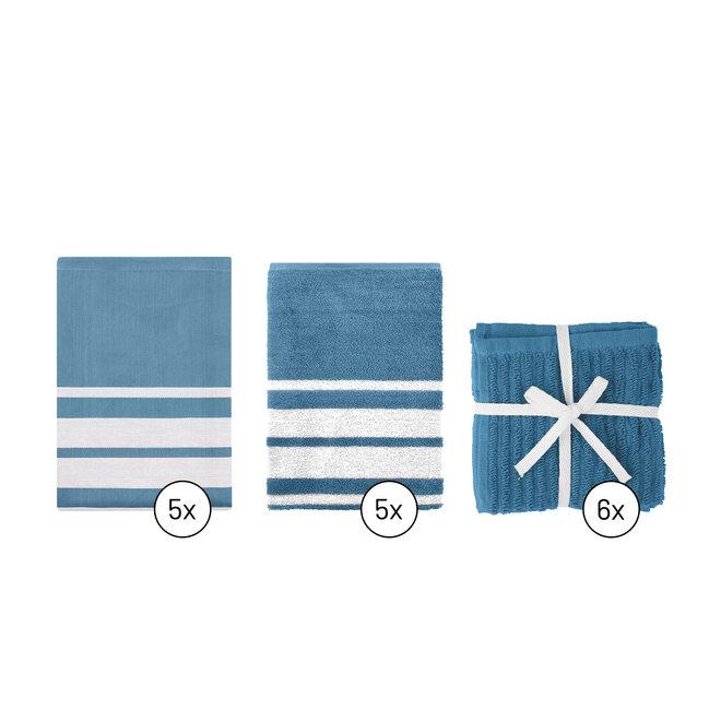 EM Kitchen Set Blauw Gestreept - 5 Theedoeken + 5 Keukendoeken  + 6 Vaatdoeken
