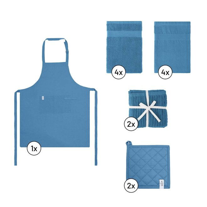 EM Kitchen Keukentextiel Set – Blauw - 13-delig – 4 Theedoeken + 4 Keukendoeken + 2 Vaatdoeken + 2 Pannenlappen + 1 Keukenschort