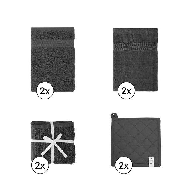 EM Kitchen Keukentextiel Set – Donkergrijs - 8-delig – 2 Theedoeken + 2 Keukendoeken + 2 Vaatdoeken + 2 Pannenlappen