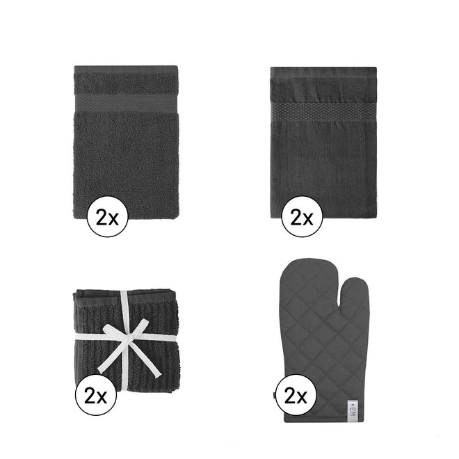 EM Kitchen Keukentextiel Set – Donkergrijs - 8-delig – 2 Theedoeken + 2 Keukendoeken + 2 Vaatdoeken + 2 Ovenwanten