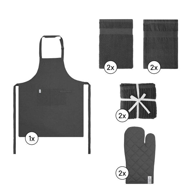 EM Kitchen Keukentextiel Set – Donkergrijs - 9-delig – 2 Theedoeken + 2 Keukendoeken + 2 Vaatdoeken + 2 Ovenwanten + 1 Keukenschort