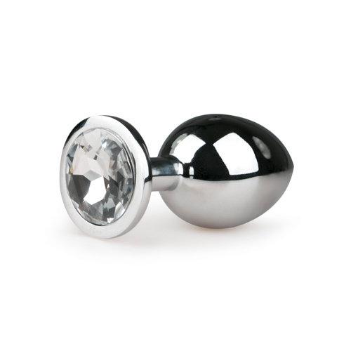 Easytoys Anal Collection Metalen buttplug met transparante diamant - zilverkleurig