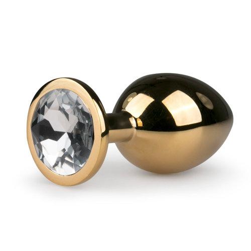 Easytoys Anal Collection Metalen buttplug met transparante diamant - goudkleurig