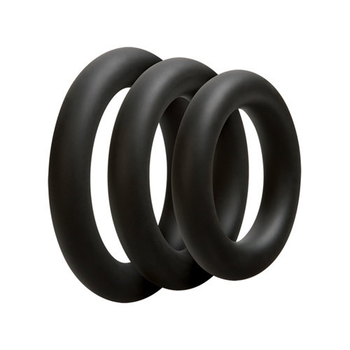 OptiMALE Driedelige cockring set - Dik - Zwart
