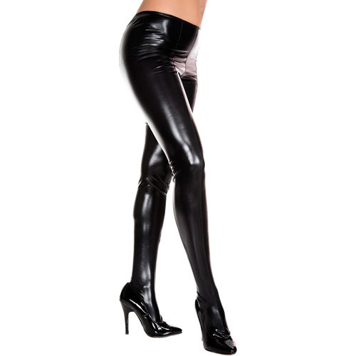 Music Legs Wetlook Metallic Panty - Zwart
