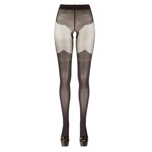 Cottelli Collection Panty Met Kousen Look - Zwart