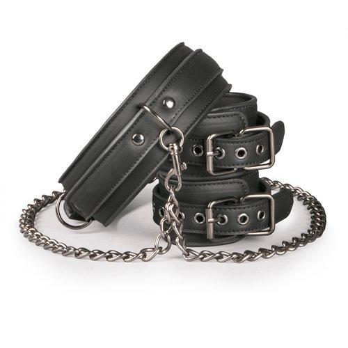 Easytoys Fetish Collection Kunstleren halsband met handboeien