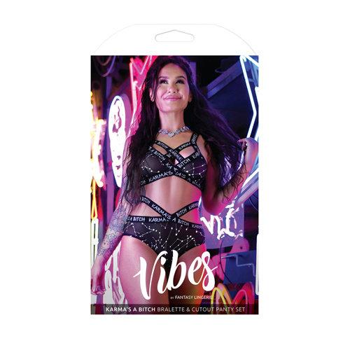 Vibes BH-Set Met Zodiac Print - Zwart/Metallic