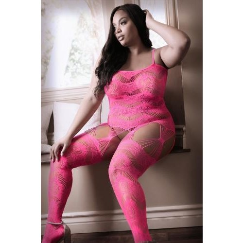 Sheer Fantasy To The Moon Jarretel Catsuit - Neon Pink