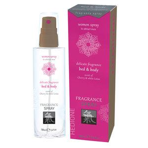 Shiatsu Feromonen Bed & Body Spray Voor Vrouwen - Kers & Witte Lotus
