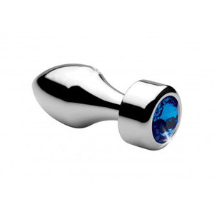 Booty Sparks Aluminum Buttplug Met Blauw Kristal - Klein