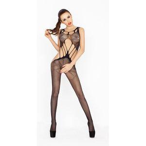 Passion Netstof catsuit met grote gaten - Zwart