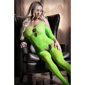 Sheer Fantasy Stargazing Cold Shoulder Jarretel Catsuit - Neon Green