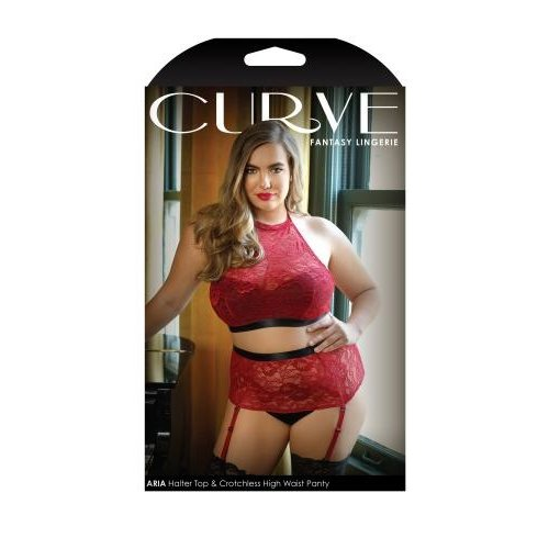 Curve Aria Jarretelset Met Open Kruisje - Rood