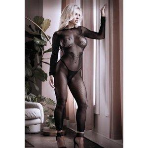 Sheer Fantasy Unleash Me Catsuit Met Open Kruisje - Zwart