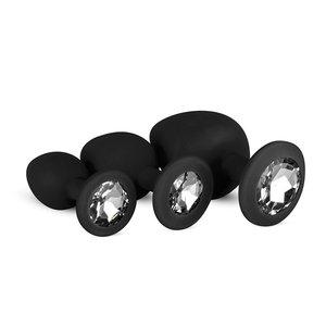 Easytoys Anal Collection Siliconen Buttplug Met Diamant - Zwart