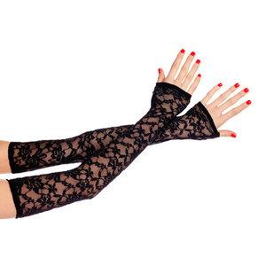 Music Legs Lange Kanten Handschoenen - Zwart