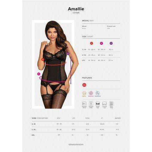Obsessive Amallie Jarretel Korset Met String - Zwart