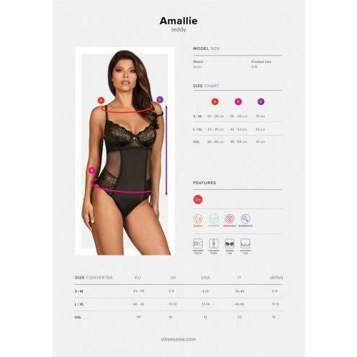 Obsessive Amallie Kanten Body - Zwart