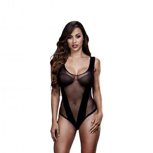 Baci Lingerie Baci - Transparante Visnet Body - Zwart