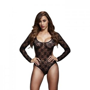 Baci Lingerie Baci - Kanten Bodysuit Met Open Achterkant - Zwart