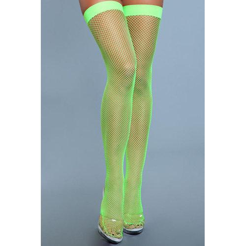 Be Wicked Hoge Nylon Visnetkousen - Neon Groen