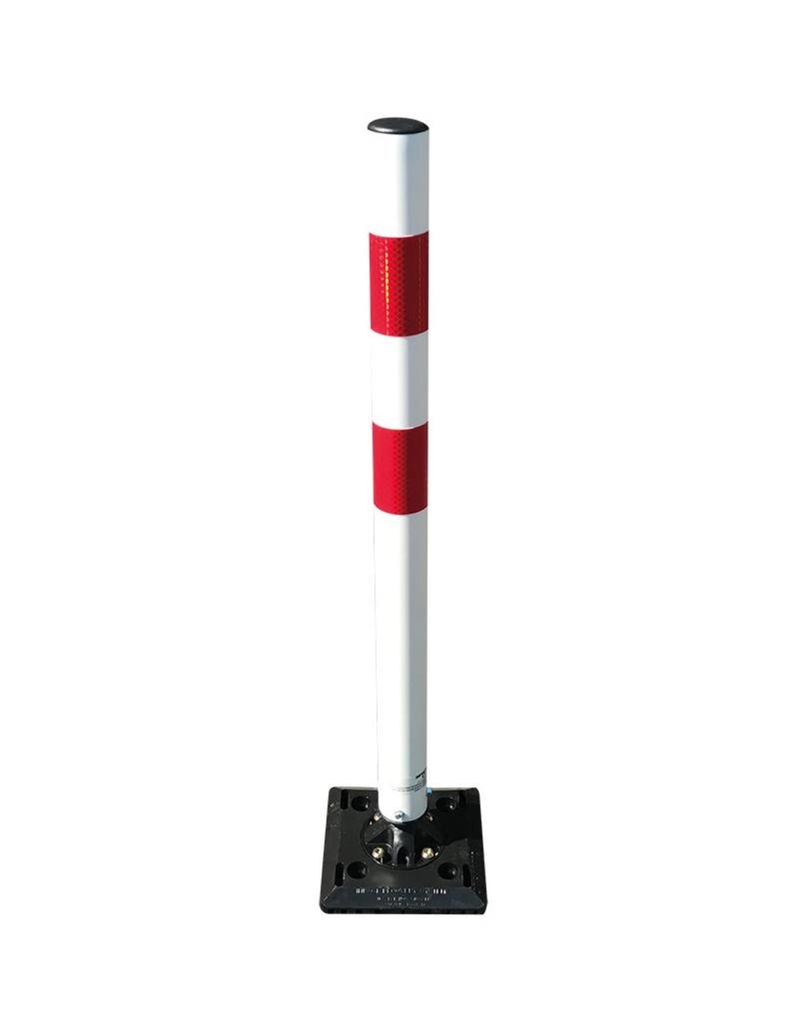 Ri-Traffic | Flexibele kickback (terugverende) parkeerpaal / afzetpaal, rood-wit